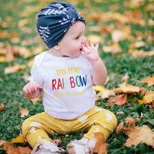 "Summer Baby Unisex Short Sleeves ""RAINBOW"" Letters Printing Triangle Romper  SM"