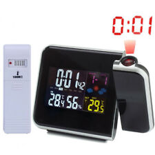 Projection Digital Alarm Clock LED Snooze Weather Backlight Thermometer Calendar