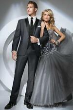3PCS Black Groom Tuxedos Men Wedding Suits Shawl Lapel One Button Groomsmen