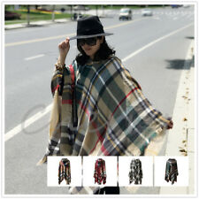 Womens Vintage Warm Plaid Check Fringed Plaid Shawl Wrap Hooded Cloak Cape Scarf