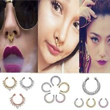 Fashion 1X Fake Clip On Non Piercing Crystal Septum Nose Ring Faux Clicker HICA