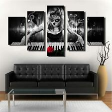 5 Pieces Day Of The Dead Face Piano Rose Wall Art Canvas Panel Print Poster