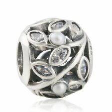 authentic sterling silver Openwork Leaf Leaves Charm Beads with Clear CZ & Pearl