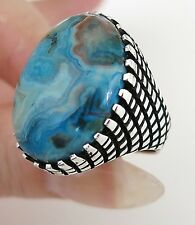 Handmade Authentic Natural Crazy Lace Agate Stone 925 Sterling Silver Men's Ring
