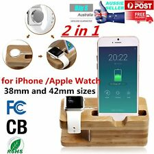 Bamboo Charging Dock Station Charger Holder Stand for Apple Watch iPhone MU