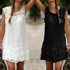 Plus Size Women Summer Sleeveless Lace Casual Loose Party Short Mini Dress C1Y6