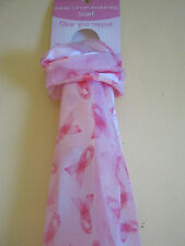 New Pink or Black Breast Cancer Scarf Ribbons Headwear Sash 5' Long NWT Gift