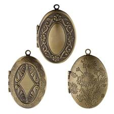 Ethnic Antique Bronze Flower Photo Picture Frame Charm Oval Locket Pendant DIY