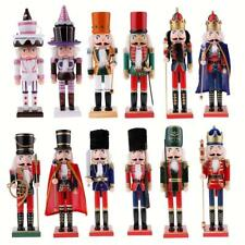 38/25cm Handpainted Wooden Nutcracker King Solider Christmas Decoration Ornament