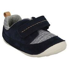 INFANT BOYS BLUE LEATHER RIPTAPE SOFT CASUAL PRE WALKER FIRST SHOES TINY MOVE