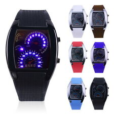 Mens Sports RPM Turbo Blue Flash LED Sports Car Meter Dial Watch Wristwatch BES