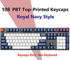 87/104 Key Royal Navy Style Keycaps Thick PBT for Cherry MX Mechanical Keyboards