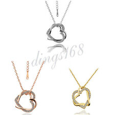 18K Gold Filled  #TARNISH-FREE# Crystal Love Heart Pendant + Necklace Chain