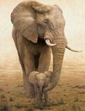 "24x36"" Large Animal Oil Painting On Art Canvas - African Elephant"