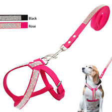 Bling Rhinestone Dog Harness & Leash Soft Suede Leather Puppy Harness Vest Lead
