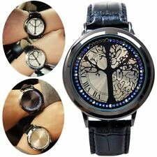 Fashion Leather Band Touch Screen LED Watches with Tree Shaped Dial Blue Light
