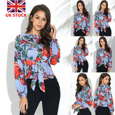 Women Floral Embroidery Long Sleeve Crop Tops Casual Loose Tied OL Shirt Blouse