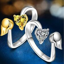 Size Zircon Opening Jewelry Angel Wings Ring Adjustable Ring Love Heart
