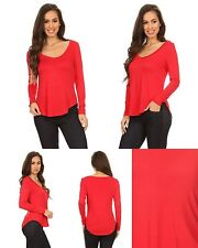 Ladies Womens Rayon Blend Solid V Neck Long Sleeve Knit Tee Top Red S M L