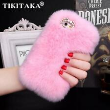 Fashion Fluffy Warm Soft Wool Rabbit Fur Skin Case For iPhone 5 5S 6 6S 6 Plus 6