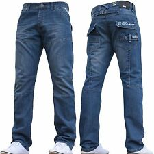 MENS BIG SIZE ENZO FASHION JEANS GREAT DETAIL STYLE BIGEZ243 - BLUE FADED DENIM