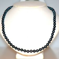 BLACK PEARL STRAND NECKLACE 14K YELLOW GOLD ROUND GREAT LUSTER 16 INCH LONG