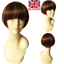 11'' Women Brown Blonde Short Straight Synthetic Wig Hair Party Work Wig+Wig Cap