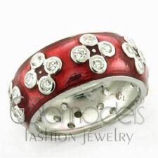 A1713 RED ENAMEL HAND-PAINTED 925 STERLING SILVER 14K WHITE GOLD PLATED RING