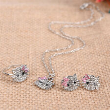 Crystal Cat Stud Necklace / Earrings / Ring Bowknot  For Fashion Girls Gifts、New