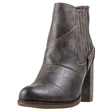 Mustang Heeled Ankle Boot Womens Grey Synthetic Casual Boots Zip New Style