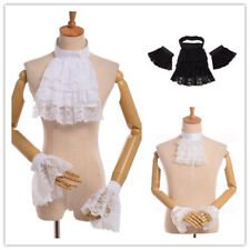 Unisex Victorian Lace Ruffle Detachable Jabot Collar Vintage Collar & Cuff Set