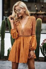 Women Lace Up V Neck Lace Pattern Hollow Out Long Sleeve Dress