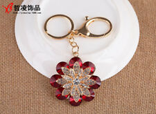Large Daisy Flower Crystal Diamante Rhinestone Bag Charm Handbag Keyring Pendant