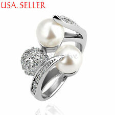 18K White Gold Filled Fashion Beautiful ManMade Pearl Crystal Ring Size 6-8 Y195