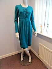 ex BODEN pure merino wool knitted TURQUOISE Ruffle Dress UK Size 14 R