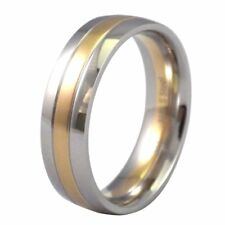 Two Tone Silver Gold 316L Stainless Steel Wedding Ring 7mm Wide Band Size 6-15