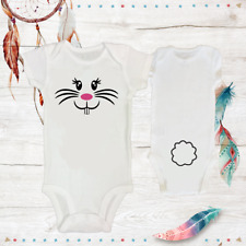 Easter Bunny Face & Tail Costume Onesie Newborn Baby Girl Clothes Unisex Reborn