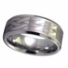 Mens Celtic Knot Ring Tungsten Carbide Wedding Band Comfort Fit Size 8-11