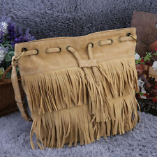 Women Imitation Suede Fringe Tassel Shoulder Bag Handbags Messenger Bag UK