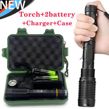 30000Lumen Zoomable T6 LED Tactical 5-Modes Focus Flashlight+Case+18650 Battery