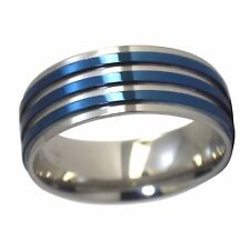Mens Blue Tone Fashion Ring 316L Surgical Stainless Steel Band Size 9-13