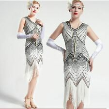 US Stock 1920s 20s Gatsby White and Silver glass beaded Fringe Flapper Dress