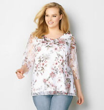 AVENUE Romantic Lace Floral Top Womens Plus Size