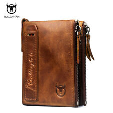 Men's Genuine Leather Cowhide Vintage Short Wallet Coin Holder Zipper Closure