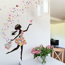 Home Bedroom Wall Sticker Removable PVC Flower Girls Wall Decals Art Stickers S8
