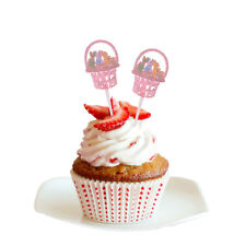 12pcs Happy Easter Bunny Rabbit Cupcake Toppers Festival Party Cake Centerpiece
