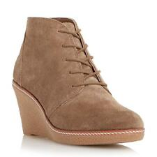 Dune Ladies PIP Wedge Heel Lace Up Ankle Boot in Dark Taupe