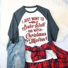 Plus Size Watch Christmas Movies Tee Women's Top 3/4 Sleeve O-Neck T-Shirt