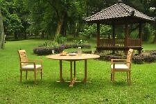 "A-Grade Teak 3pc Dining 60"" Round Table 2 Mas Stacking Arm Chair Set Outdoor"