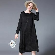 Women Plus Size Long Sleeve Casual Loose Round Neck Mid-calf Dress